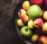 Fresh organic autumn apples in a bowl - 217118737