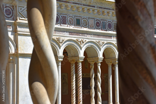 Italy, Rome, basilica of San Giovanni in Laterano, Lateran Cloister, view and details of the architecture.