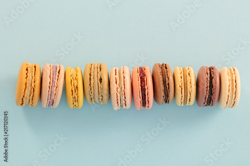 Plexiglas Macarons Top view of French macaroons in a row