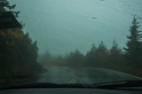 View from the windshield of the car on the road in a strong mist . The road is in the dark  forest in the fog. Mystical dark photo. Selective soft focus.