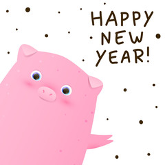 Greeting card with cute little pig - a symbol of the New Year 2019 © evgeniya_m