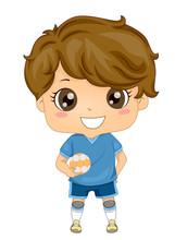 Kid Boy Sports European Hand Ball Illustration Sticker