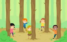 Stickman Kids Woodland Trees Peek Illustration Sticker
