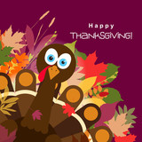 Template greeting card with a happy Thanksgiving turkey, vector