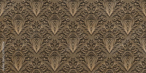 floral carved stone , 3d fabric and leather texture , floor tile surface pattern - 217143516
