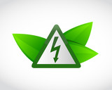electricity symbol and green leaves - 217144359