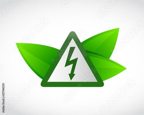 symbol energii elektrycznej i zielonych liści