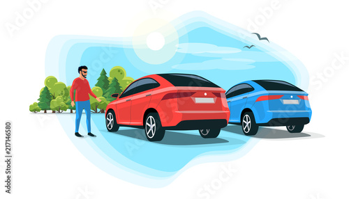 Fotobehang Auto Flat vector illustration of an young man standing next suv car on parking lot with trees and sky. Person having a rest on long trip on rest stop area.