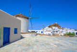 Traditional houses, wind mills and churches in Ios island, Cyclades, Greece. - 217146760