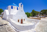 Traditional houses, wind mills and churches in Ios island, Cyclades, Greece. - 217146974