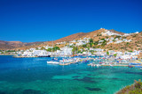 Ios Chora and old harbor, Cyclades, Greece. - 217147182