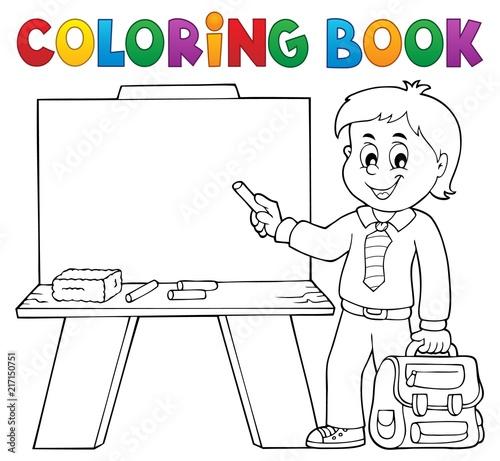 Canvas Voor kinderen Coloring book happy pupil boy theme 4