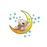 cute baby bear cartoon sleeping on crescent vector draing