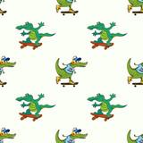 Crocodiles on skateboards seamless pattern