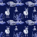 goat, rusty car, money and predator tree seamless pattern