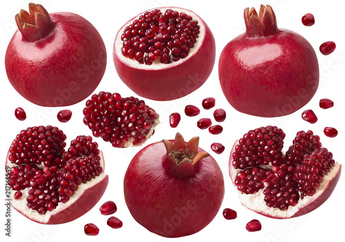 Foto Murales Pomegranate whole and pieces set. Isolated on white background