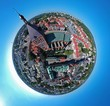 Leinwanddruck Bild - Aerial view on spherical panorama city, old town, city center, green city, cathedral.
