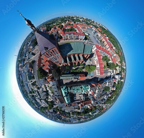 Leinwanddruck Bild Aerial view on spherical panorama city, old town, city center, green city, cathedral.