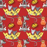 mice, dog, cat seamless pattern