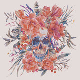 Watercolor skull with red flower Amaryllis, green tropical leaves - 217172734