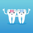 Funny cute characters teeth in braces. Pediatric dentistry, oral care, hygiene and health. Flat vector cartoon illustration.