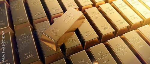 Leinwandbild Motiv Goldbarren Querformat 3