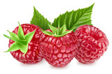 raspberries with leaf isolated