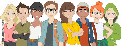 Group of cartoon young people. Teenagers.