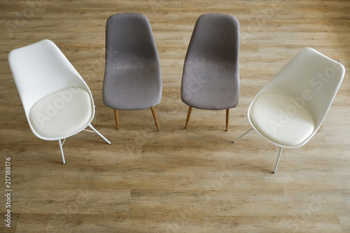 Group Therapy Counseling For Addicts U0026amp; Alcoholics Concept. Multiple  Loft Style Empty Chairs,