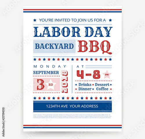 labor day bbq invitation template labor day usa grill party flyer