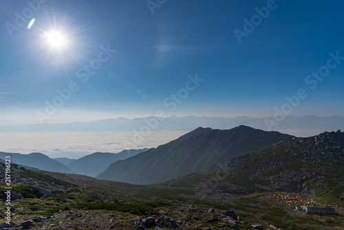 Fotobehang Grijze traf. Mount Kisokoma in Nagano, the tallest peak of the Japan Central Alps at 2,956 meters above sea level.