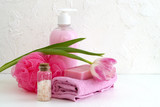 Liquid soap and two towels on a white background. - 217199920
