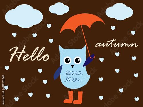 Fotobehang Uilen cartoon Hello autumn, cute owl on the rain and with umbrella. Vector illustration.