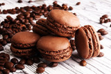 Sweet and colourful french macaroons or macaron with coffee - 217205971