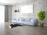 Mock up a bright living room with a large comfortable sofa and a stylish hipster background.