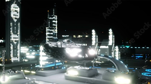 the girl on the flying car over night futuristic city. Concept of future. Realistic 4K animation.