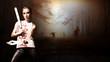 Leinwandbild Motiv Frau mit Machete und Baseballschläger vor schaurigem Wald mit Zombies