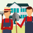 gardeners man with rake and shovel tools gardening vector illustration