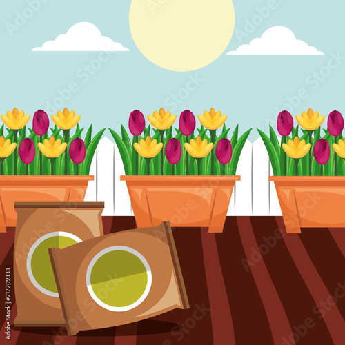 Wall mural potted flowers and potting soil tools gardening vector illustration