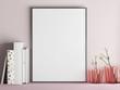 Mock up poster frame on minimalism rose wall, 3d render, 3d illustration