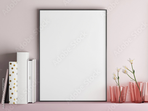 Foto Spatwand Hoogte schaal Mock up poster frame on minimalism rose wall, 3d render, 3d illustration