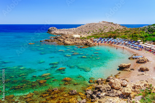 Leinwanddruck Bild Sea skyview landscape photo Ladiko bay near Anthony Quinn bay on Rhodes island, Dodecanese, Greece. Panorama with nice sand beach and clear blue water. Famous tourist destination in South Europe