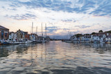Calm waters at Weymouth Harbour at dawn sunrise - 217215921