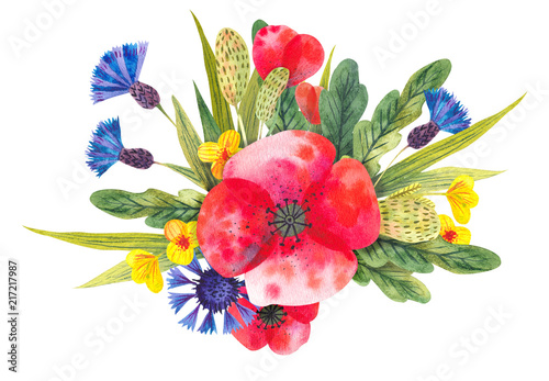 Leinwanddruck Bild Watercolor composition with different bright wild flowers