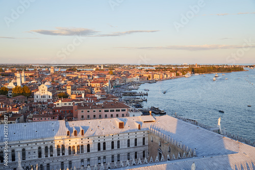 Aerial view of Venice before sunset with coast and rooftops, Italy