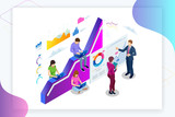 Isometric web banner Data Analisis and Statistics concept. Vector illustration business analytics, Data visualization. Technology, Internet and network concept. Data and investments. - 217226356