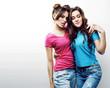 Leinwanddruck Bild - best friends teenage girls together having fun, posing emotional