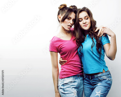 Leinwanddruck Bild best friends teenage girls together having fun, posing emotional