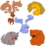 forest animals in an unusual style of drawing: elk, hare, wolf, squirrel, bear, vector