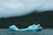 Quadro Iceberg in water surrounded by forest and fog